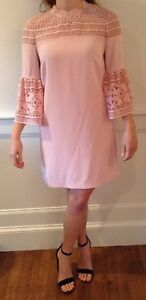 4855373bf Nwot Ted Baker Lucila Lace Bell Sleeved Tunic Dress Dusky Pink Size ...