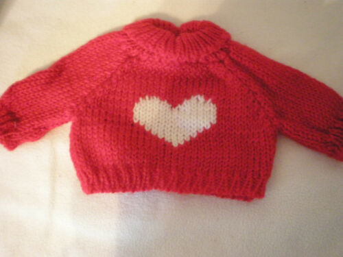 SWEATER 4 AMERICAN GIRL DOLL //red white heart