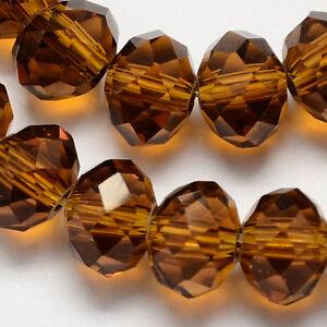 100pcs Washer à Facettes Verre Cristal Perles 6 Mm Marron Fabrication De Bijoux-afficher Le Titre D'origine