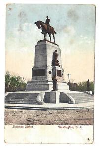 Washington-DC-Antique-Postcard-Sherman-Statue-Monument
