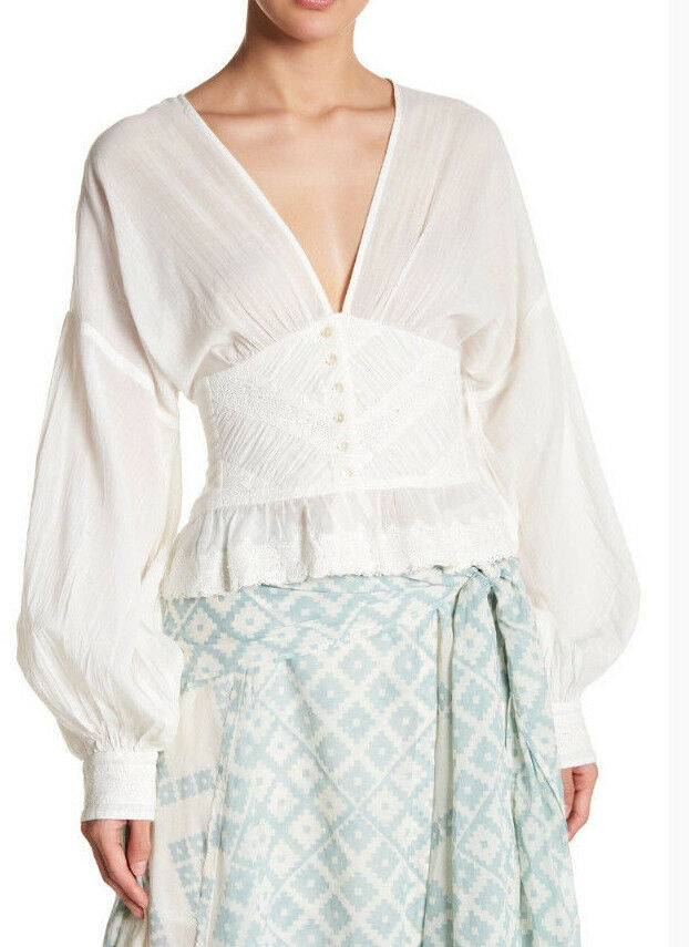 Free People OB769738 True Farbe Cotton Bubble Sleeve Blouse in Ivory