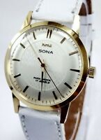 VINTAGE MEN'S HMT SONA GOLD PLATED 17 JEWELS WINDING WRIST WATCH FOR GENTS WEAR