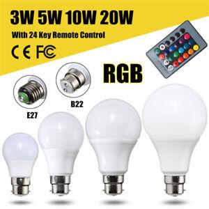 e27 b22 3 5 10 20w rgb led bunte gl hbirne lampe farbwechsel fernbedienung ebay. Black Bedroom Furniture Sets. Home Design Ideas