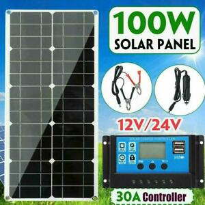 100W-18V-Dual-USB-Flexible-Solar-Panel-Battery-Charger-Controller-Car-Boat-J4Q6