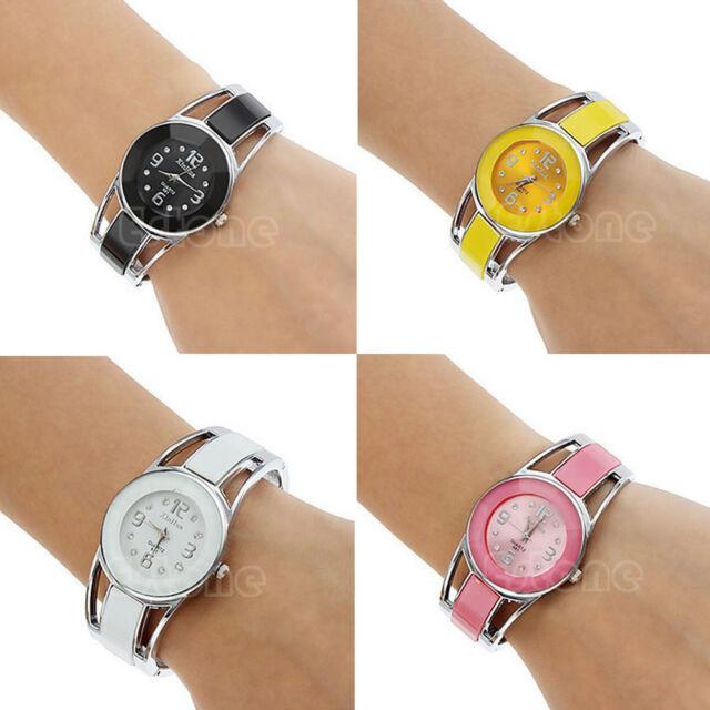 Fashion Women's Alloy Band Quartz Analog Round Dress Bracelet Wrist Watch Gift