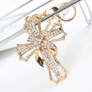 New-Arrive-Cross-Flower-Charm-Pendant-Crystal-Purse-Bag-Key-Chain-Ring-Accesorie