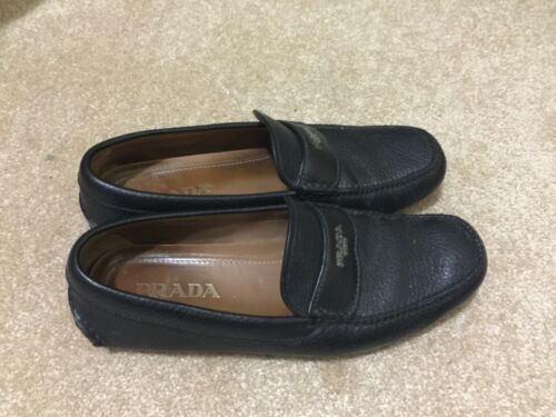 prada men shoes black leather size 8