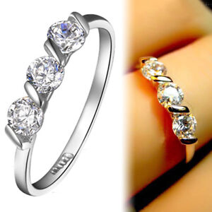 18K-WHITE-GOLD-GF-Simulated-Diamond-TRILOGY-ETERNITY-WEDDING-BAND-SOLID-RING
