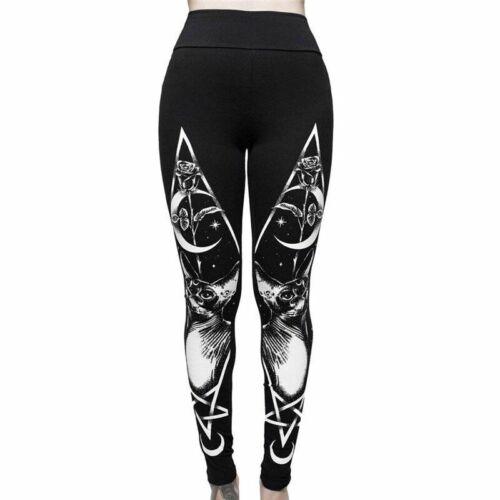 Woman Gothic Leggings Animals Printed Stretch Skinny Street Wear Mid Waist Punk