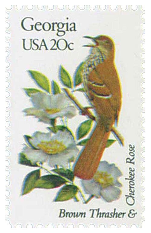 1982 20c State Birds & Flowers, Georgia, Cherokee Rose