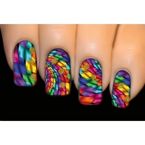 Rainbow Vortex - FULL COVER Nail Art Water Transfer Decal Sticker #1576