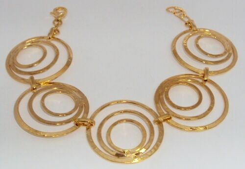 Art Deco 5ive Circle Technibond Bracelet 14K Silver HSN