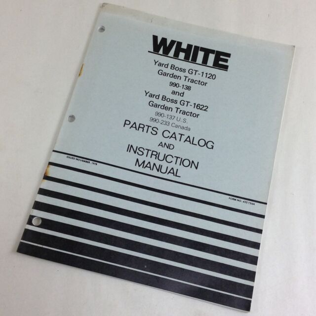 White Yard Boss Gt-1120 Gt-1622 Garden Tractors Parts Catalog ...