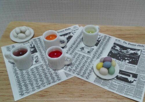 Dollhouse Miniature Dying Easter Eggs 4 cups w// dye 2 dish eggs paper 1:12 scale