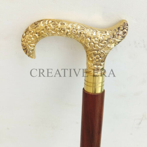 Antique Brass Derby Handle Wooden Vintage Style Walking Stick Cane Designer Gift