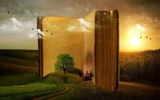 """oil painting handpainted on canvas """"a large book,tree,birds,landscape""""@NO2525"""