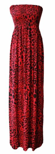 Womens Printed Gathered Long Maxi Bandeau Ladies Sheering Stretch Boobtube DRESS