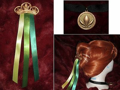 FROZEN Princess ANNA CORONATION Cosplay NECKLACE & Hair Ribbons COMB NEW for Wig