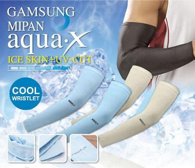 MIPAN AQUA X Sport Cool Wristlet Brown Color Ice Skin UV Cut Arm Warmers