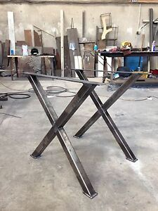 Industrial Style X Frame Table Desk Legs Raw Steel Made At The