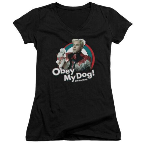 Zoolander Model Parody Comedy Movie Obey My Dog Juniors V-Neck T-Shirt Tee