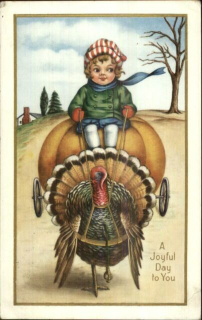 Thanksgiving - Turkey Pulling Boy on Pumpkin Wagon c1915 Whitney Postcard