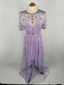 Ladies-Dress-Size-16-BOOHOO-Lilac-Beaded-Maxi-Sheer-Chiffon-Party-Evening