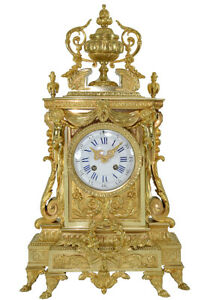 PENDULE-BRONZE-Kaminuhr-Empire-clock-bronze-horloge-cartel-ancien-portique