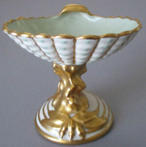 Vintage Porcelain SHELL Soap Dish Turquoise Dots GILT Base * Carlin Comforts