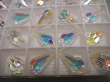 6 swarovski crystal pendants(top drilled)22x11mm crystal AB #6000