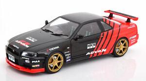 Nissan-Skyline-GT-R-R34-Drift-Bel-exemple-Bon-Detail-echelle-1-18-DIECAST-MODEL