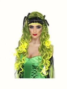 Green-Curly-Wig-Siren-Long-fringe-Rebel-fancy-dress-costume-Halloween-womens