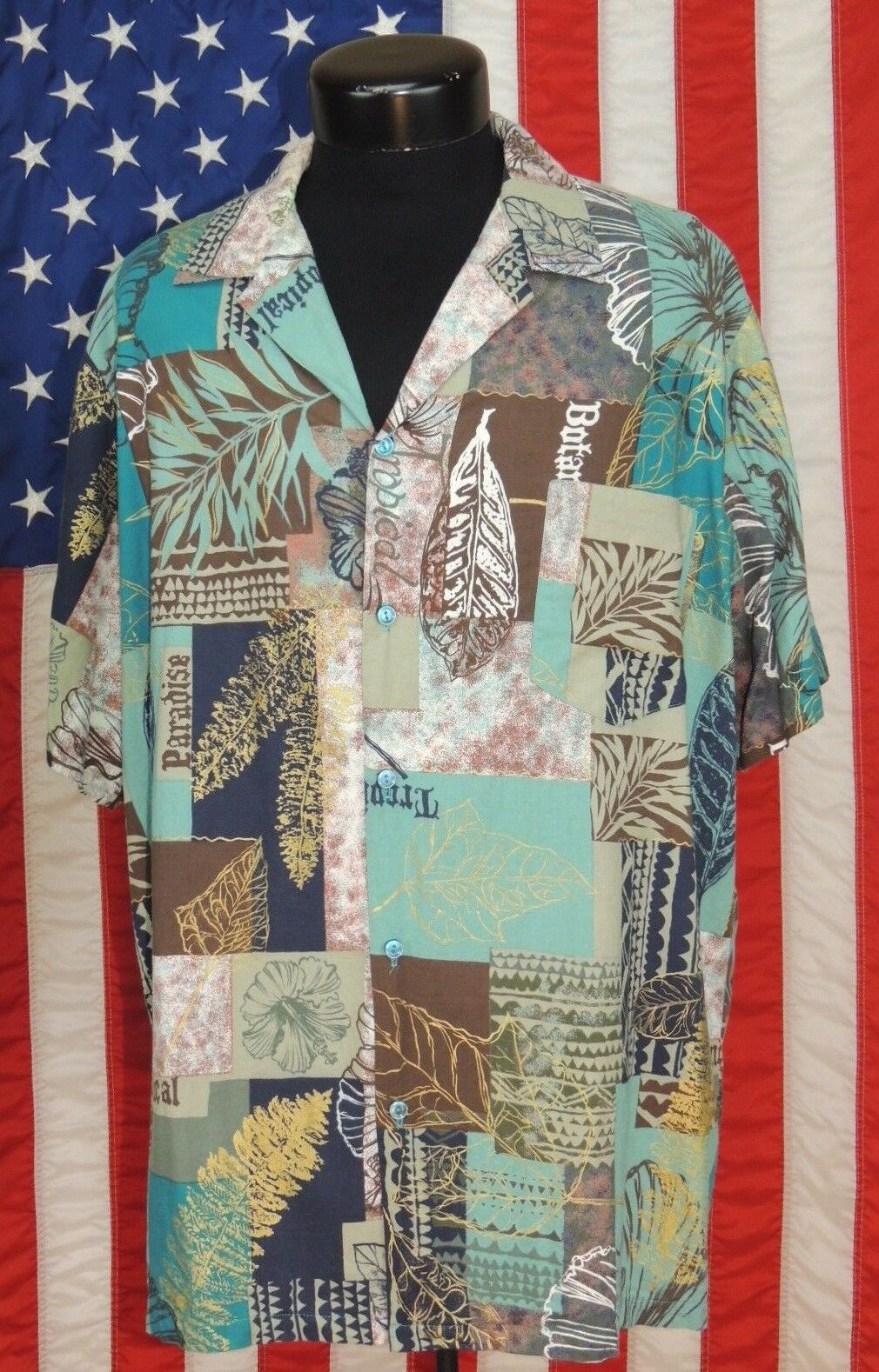 446746da Rare VTG Made Hawaii Hawaiian Shirt Aloha Tropical Tiki Floral Hilo Hattie  Leave