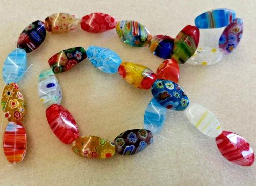 36 cm environ 23 perles-glorieux Mix Millefiori Cubes Rice Bead String