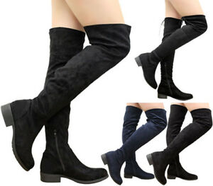 Ladies-Women-Stretch-Lace-Up-Low-Heels-Thigh-High-Over-The-Knee-Boots-Shoes-Size