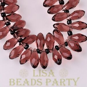 New-10pcs-16x8mm-Teardrop-Faceted-Glass-Pendant-Loose-Spacer-Beads-Fuchsia