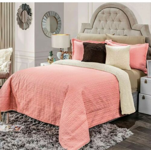 PEONIA CORAL ULTRA COMFORTER SET WITH SHERPA 3 PCS QUEEN SIZE SEAMLESS QUILTED
