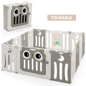 14-Panel Baby Playpen Kids Activity Center Foldable Play Yard w/ Lock Door Beige