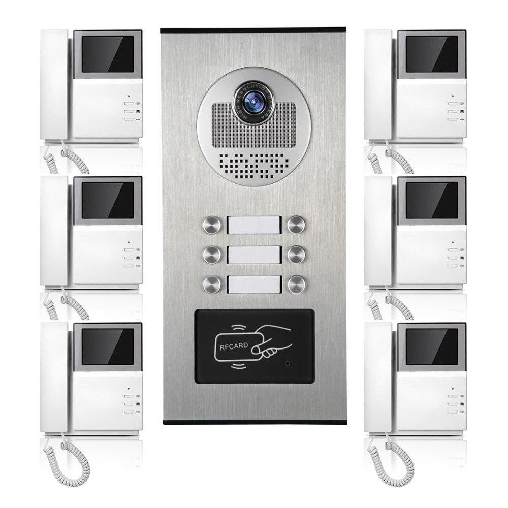 Apartamento Con Cable De Video Audio Visual de tarjeta de RFID de teléfono de puerta sistema de intercomunicación 6 unidades