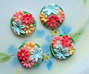 #1029B Vintage Cabochons Glass Pressed 11mm Rare Hand Painted Shabby Rose Flower