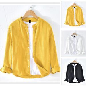 Men-039-s-Baggy-Collarless-T-Shirt-Linen-Tee-Hippy-Shirts-Long-Sleeve-Tops-Blouse-UK