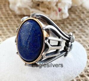 Hz-Ali-Lapis-Lazuli-925-Sterling-Silver-Luxury-IYI-Men-039-s-Ring
