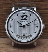 Da uomo raro,Vintage Soviet URSS Russo orologio RAKETA 2614H ORIGINALE Servizio