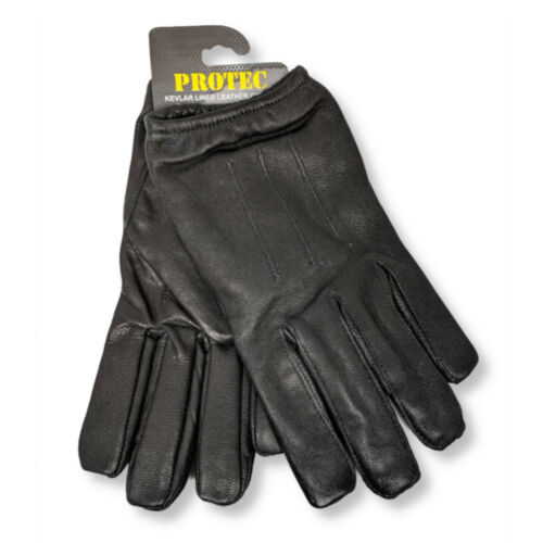 Protec anti slash fire resistant black leather and Kevlar gloves security SIA.
