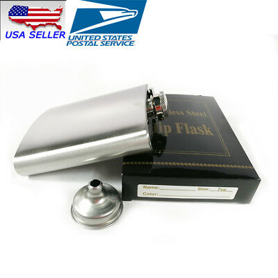 USA NEW 7oz Stainless Steel Whiskey Alcohol Pocket Flask with Portable Funnel