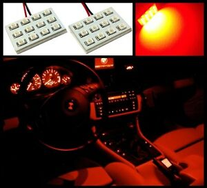 2 Bright Red 12 Led Interior Dome Map Light Smd Panels Xenon Bulbs Hid Lamp A3 Ebay
