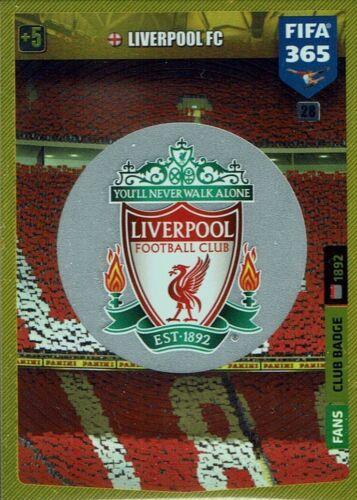 Panini Adrenalyn XL FIFA 365 2020 Club Badge Wappen Nr 28 FC Liverpool