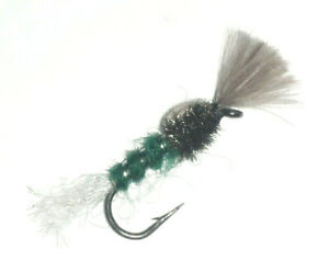 18 Brown Epoxy Buzzers Trout Flies Mixed Size 10,12,14 Dragonflies