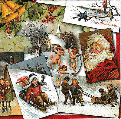 4x Paper Napkins for Decoupage Decopatch Christmas Nostalgic