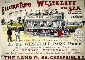 Southend Westcliff on Sea Electric Tram Vintage Travel Poster Art Re-Print A3 A4